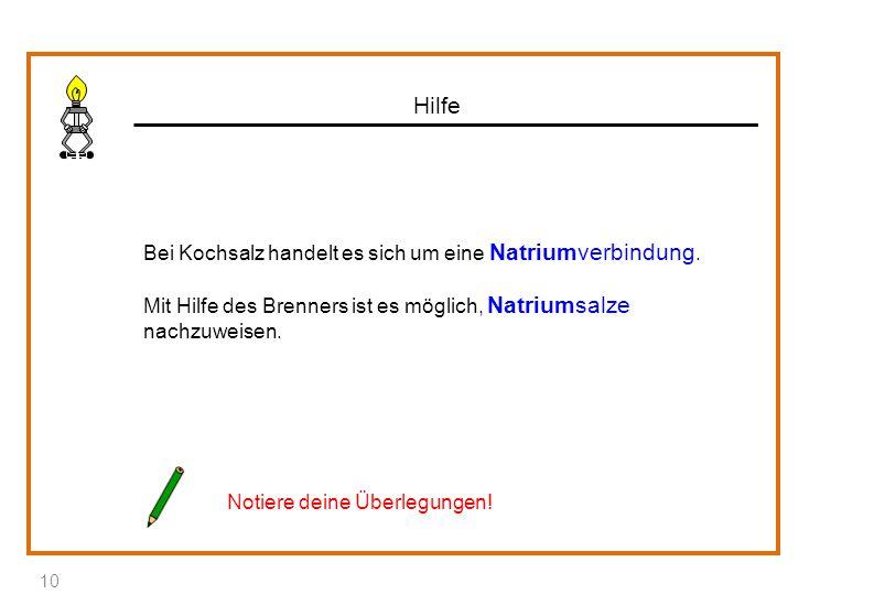 Hilfe Bei Kochsalz handelt es sich um eine Natriumverbindung. Mit Hilfe des Brenners ist es möglich, Natriumsalze nachzuweisen.