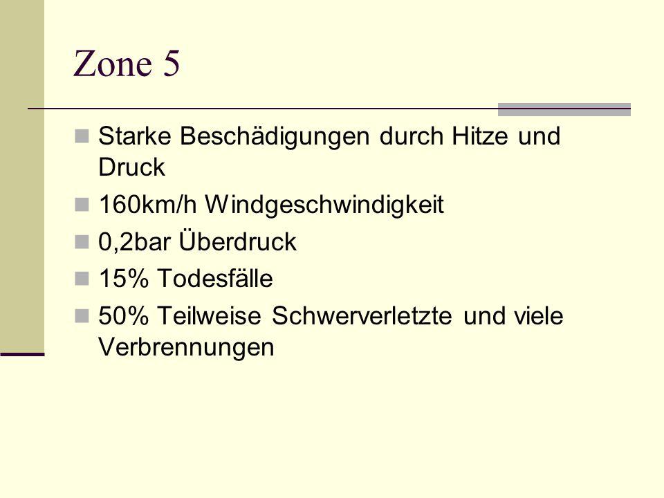 Zone 5 Starke Beschädigungen durch Hitze und Druck