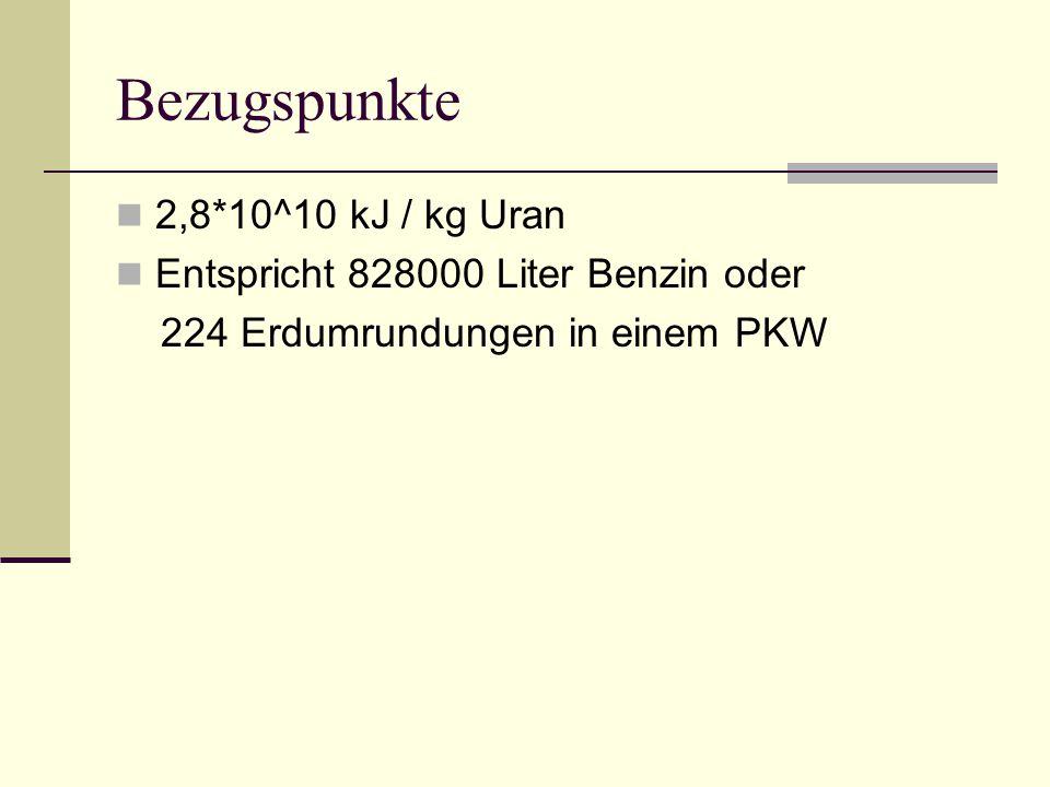 Bezugspunkte 2,8*10^10 kJ / kg Uran