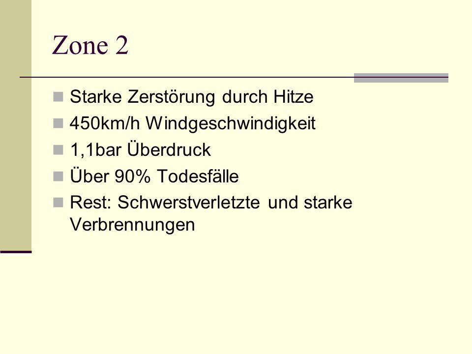 Zone 2 Starke Zerstörung durch Hitze 450km/h Windgeschwindigkeit