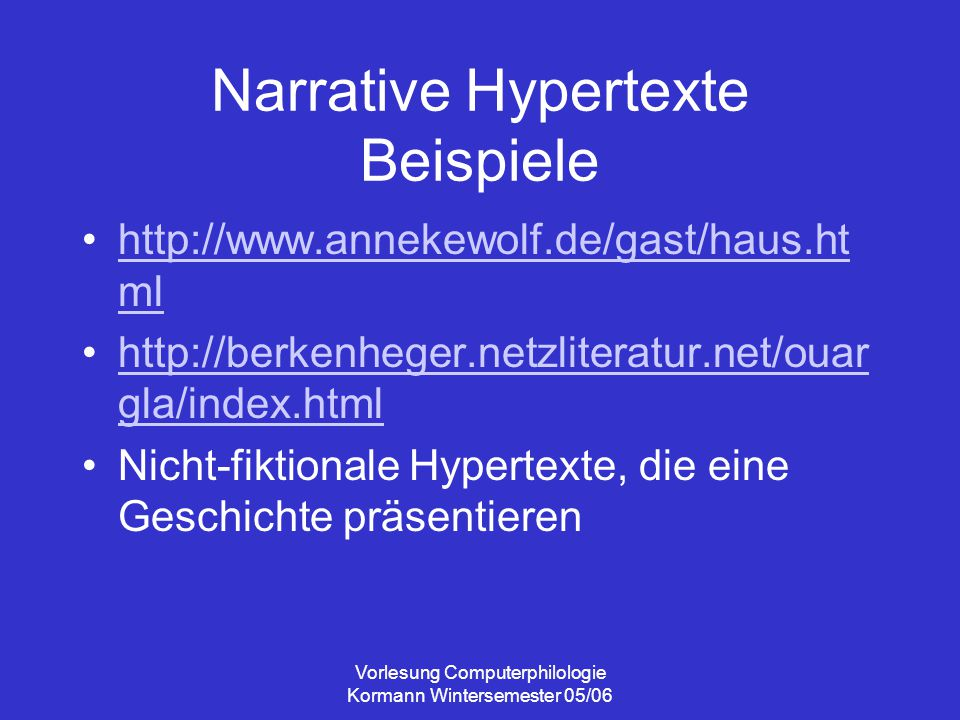Narrative Hypertexte Beispiele