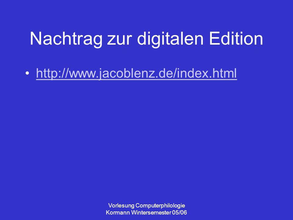Nachtrag zur digitalen Edition