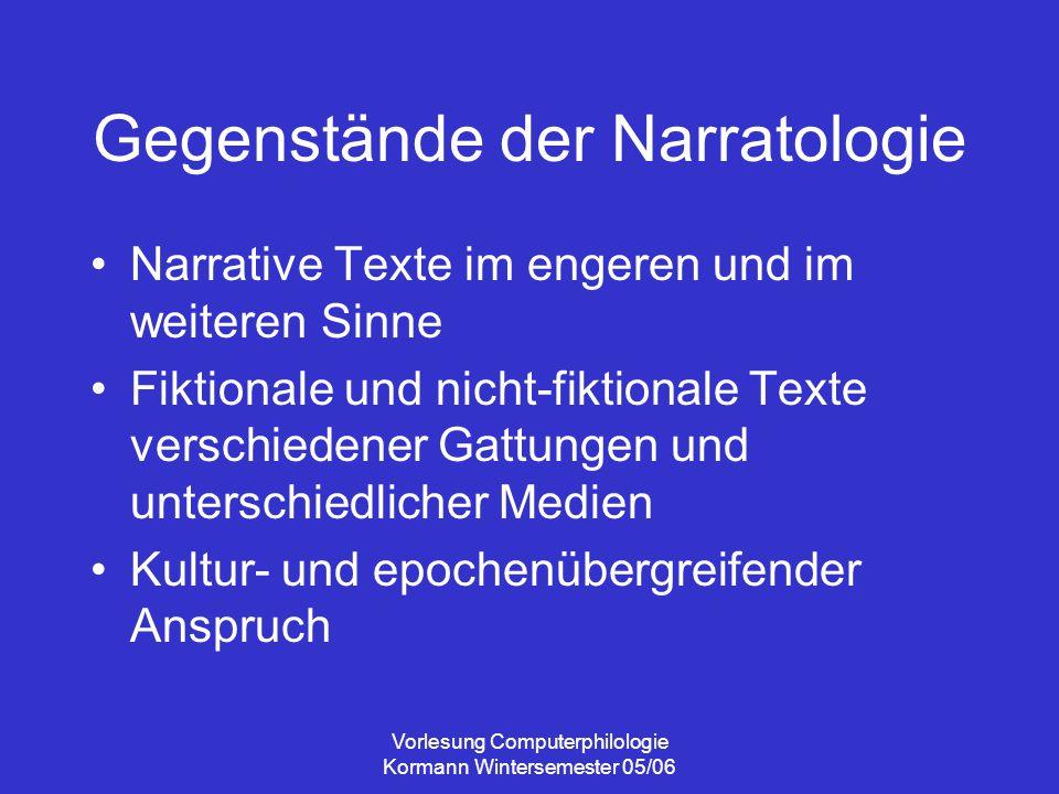 Gegenstände der Narratologie