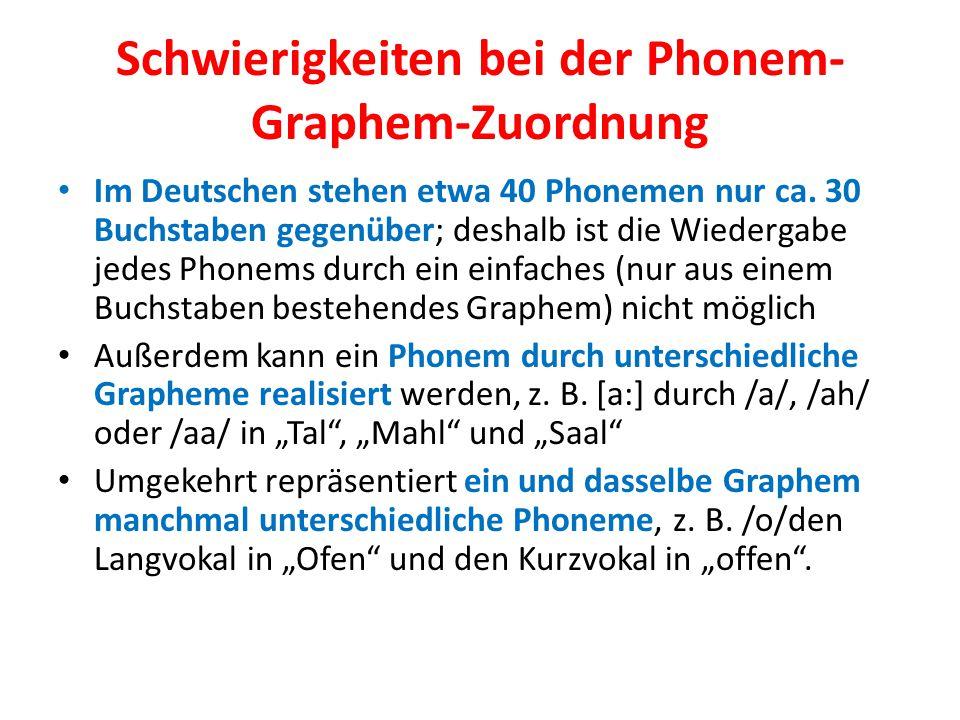 Schwierigkeiten bei der Phonem-Graphem-Zuordnung
