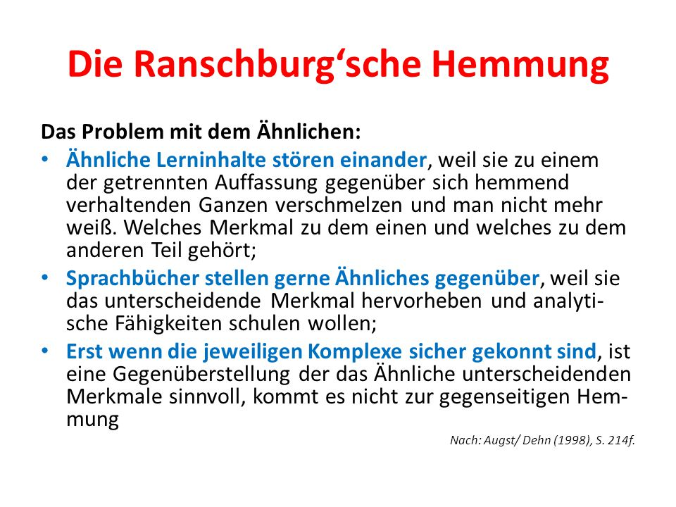 Die Ranschburg'sche Hemmung