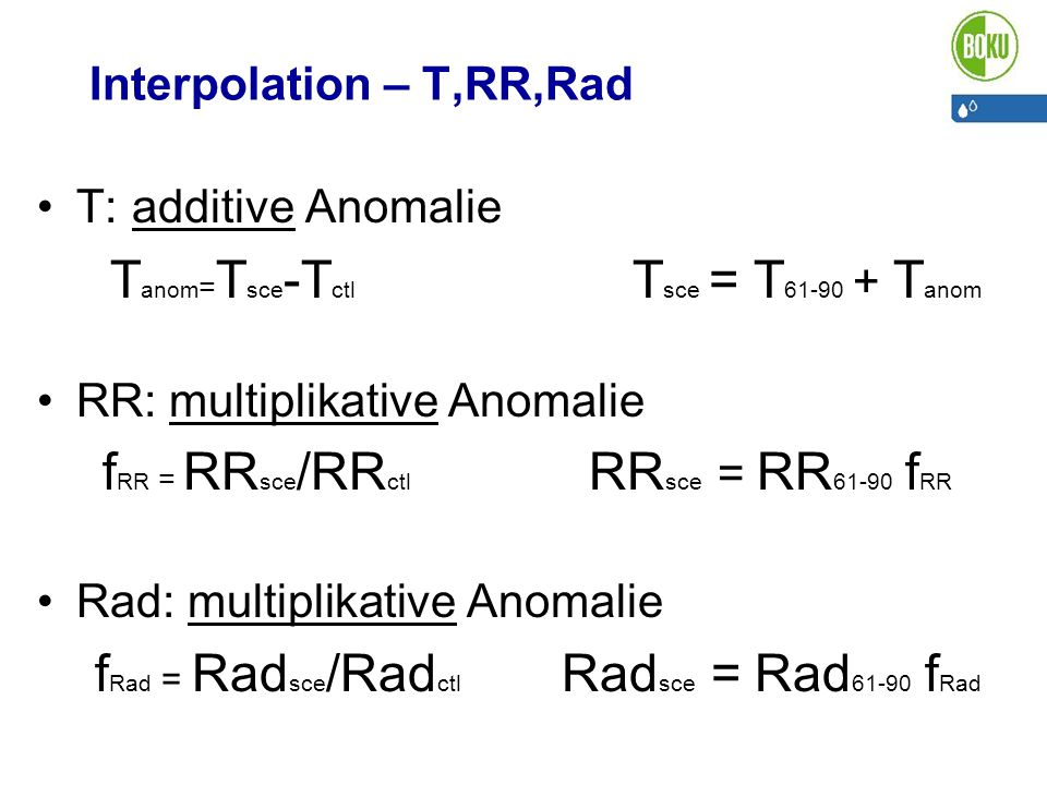 Interpolation – T,RR,Rad