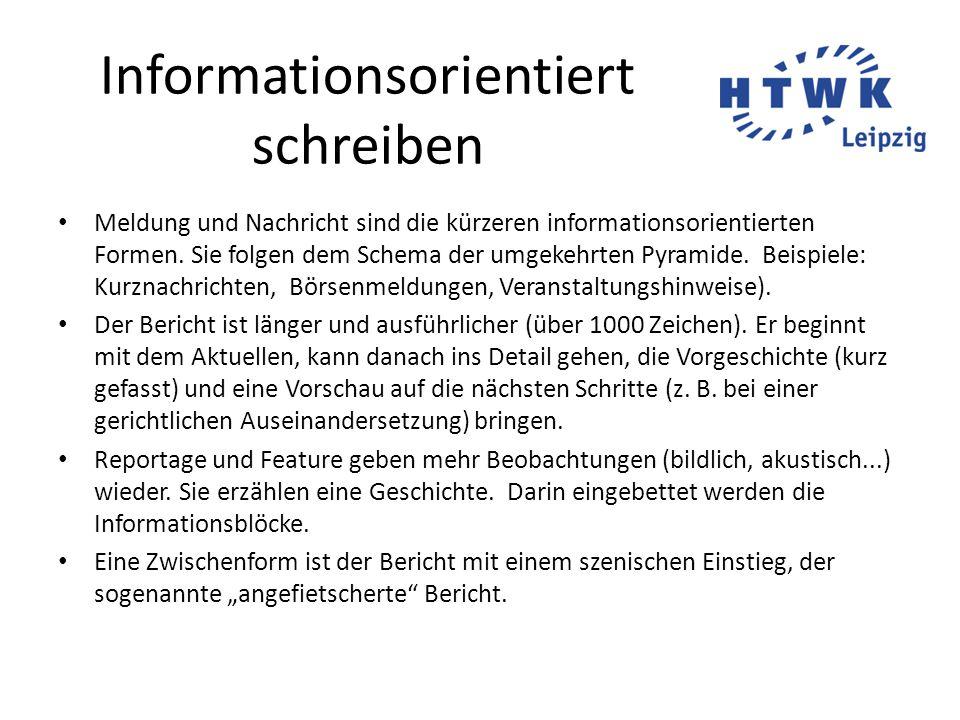 Informationsorientiert schreiben