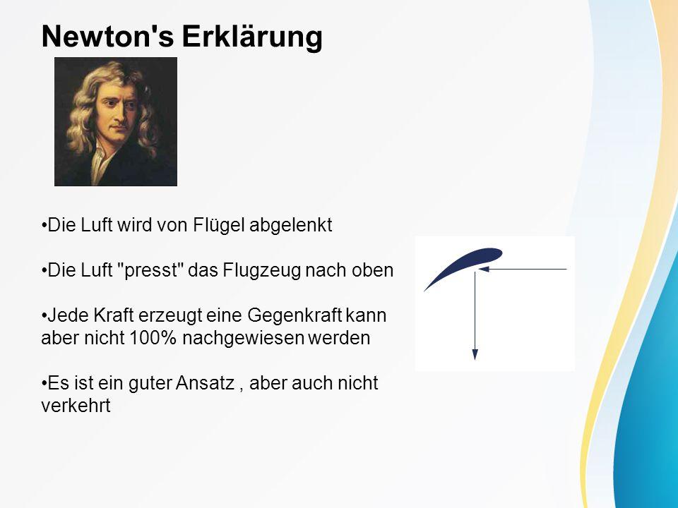 Newton s Erklärung Die Luft wird von Flügel abgelenkt