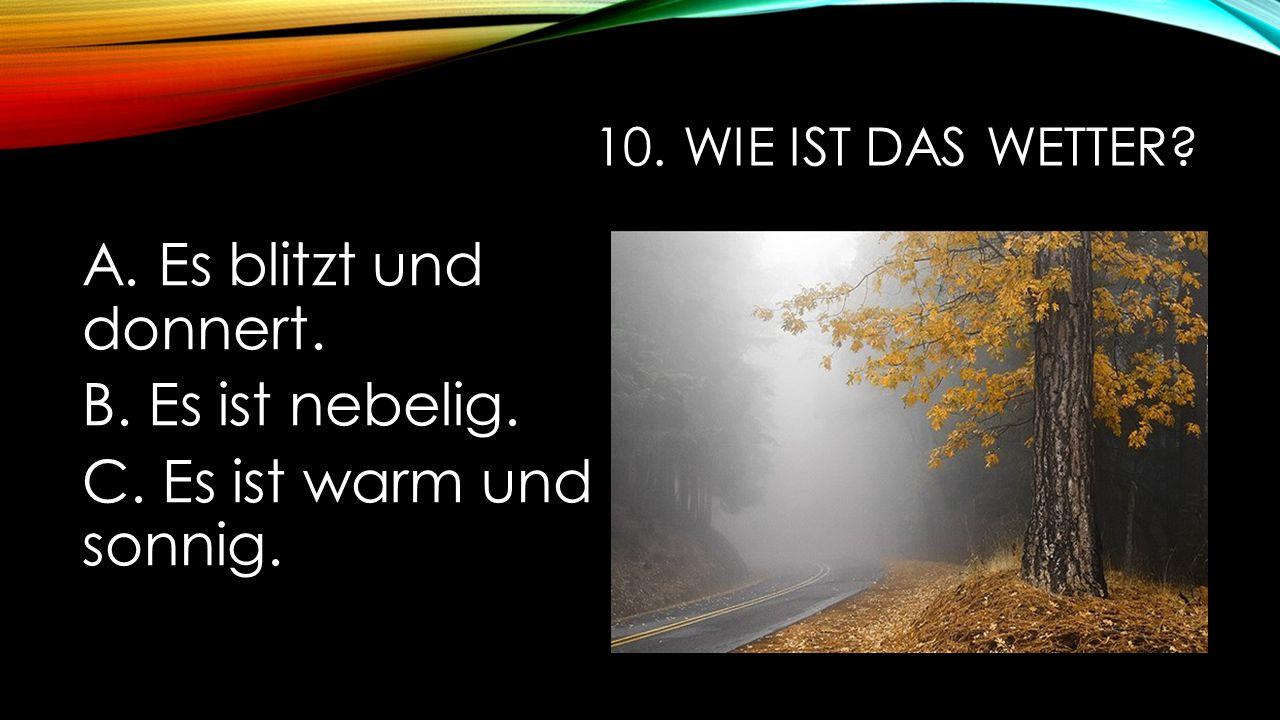 10. Wie ist das Wetter A. Es blitzt und donnert. B. Es ist nebelig. C. Es ist warm und sonnig.