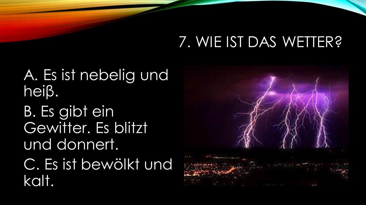 7. Wie ist das Wetter. A. Es ist nebelig und heiβ.