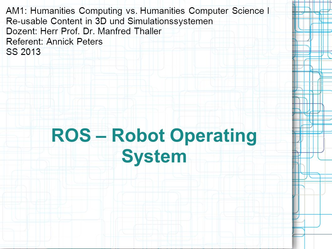 ROS – Robot Operating System