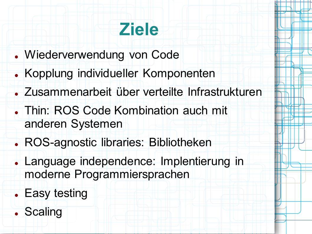 Ziele Wiederverwendung von Code Kopplung individueller Komponenten
