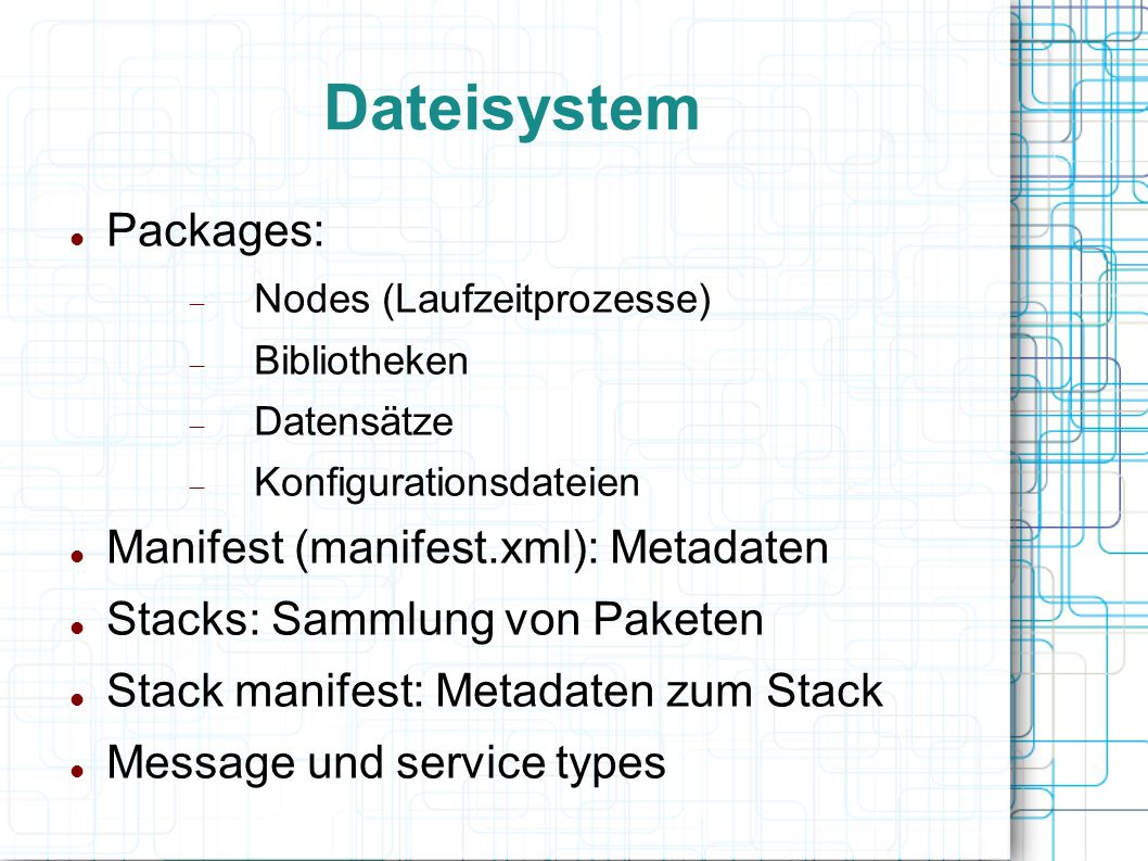 Dateisystem Packages: Manifest (manifest.xml): Metadaten