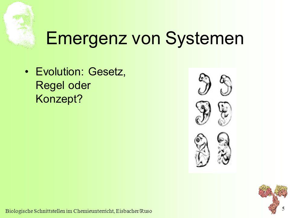 Emergenz von Systemen Evolution: Gesetz, Regel oder Konzept