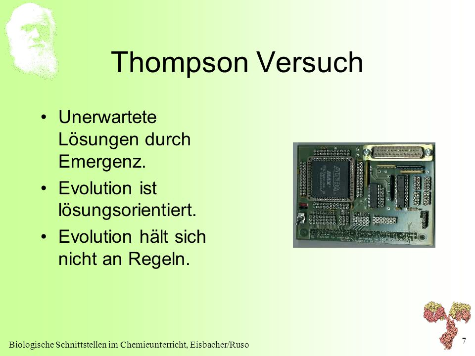 Thompson Versuch Unerwartete Lösungen durch Emergenz.