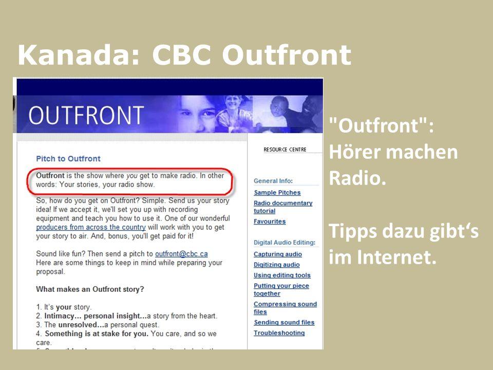 Kanada: CBC Outfront Outfront : Hörer machen Radio. Tipps dazu gibt's