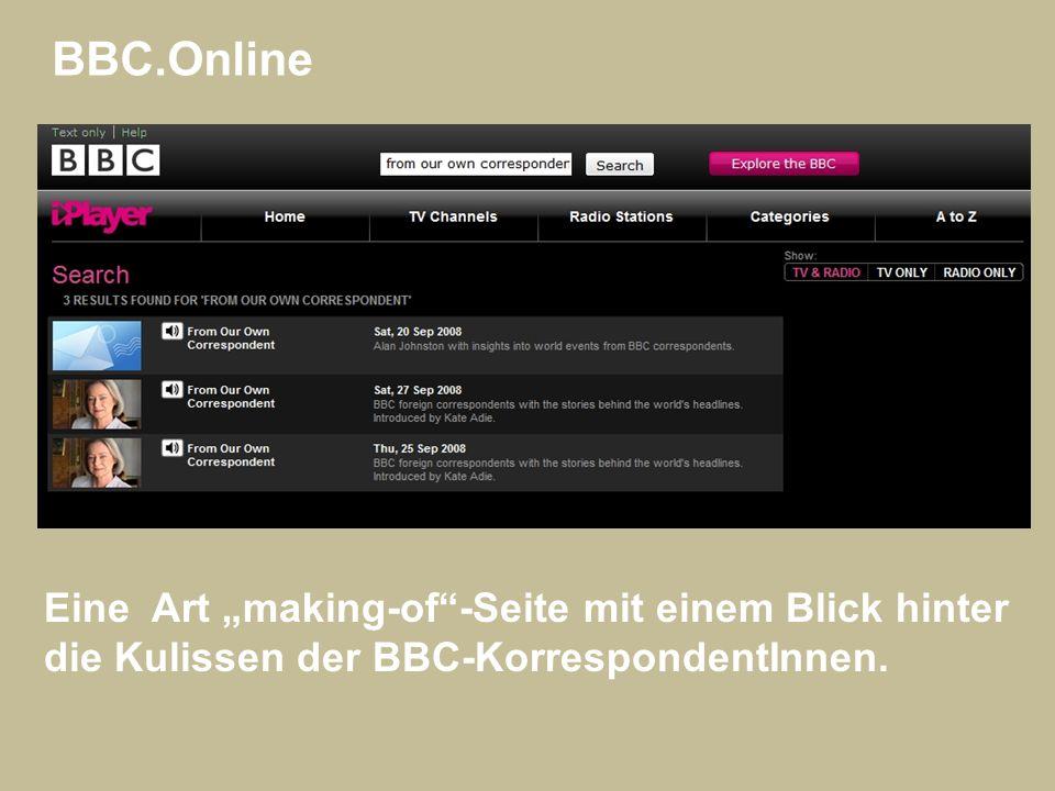 """BBC.Online Eine Art """"making-of -Seite mit einem Blick hinter"""