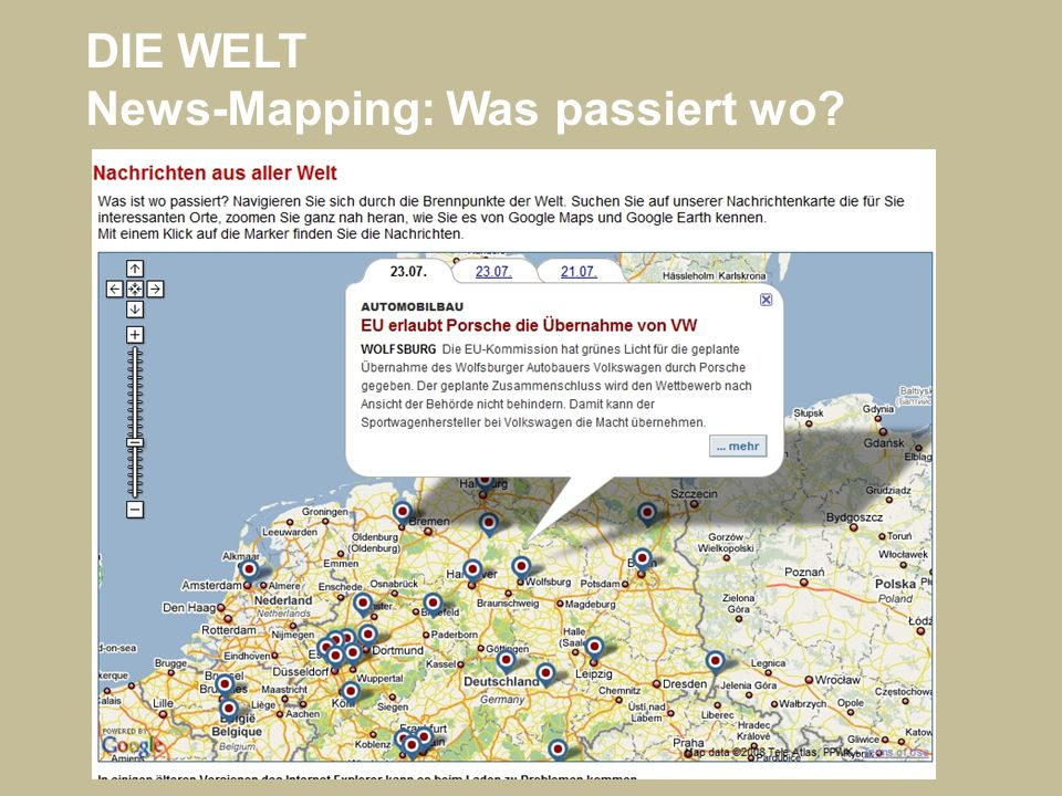 DIE WELT News-Mapping: Was passiert wo