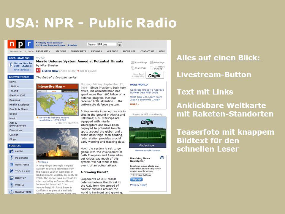 USA: NPR - Public Radio Alles auf einen Blick: Livestream-Button