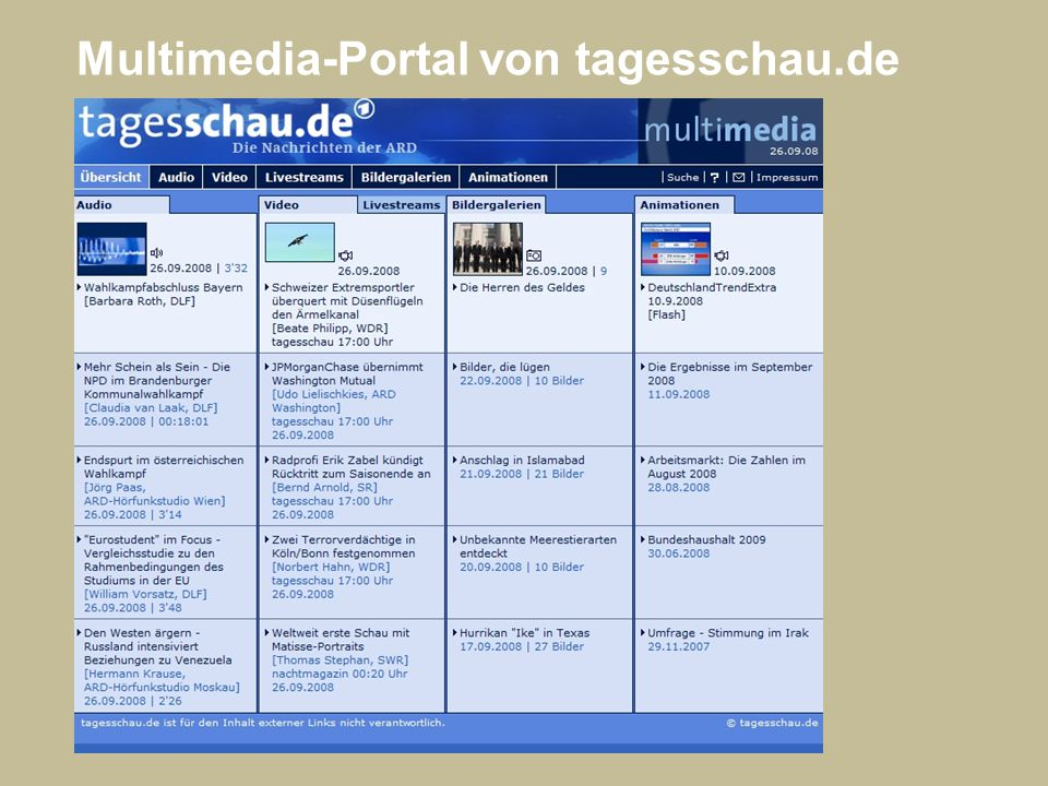 Multimedia-Portal von tagesschau.de