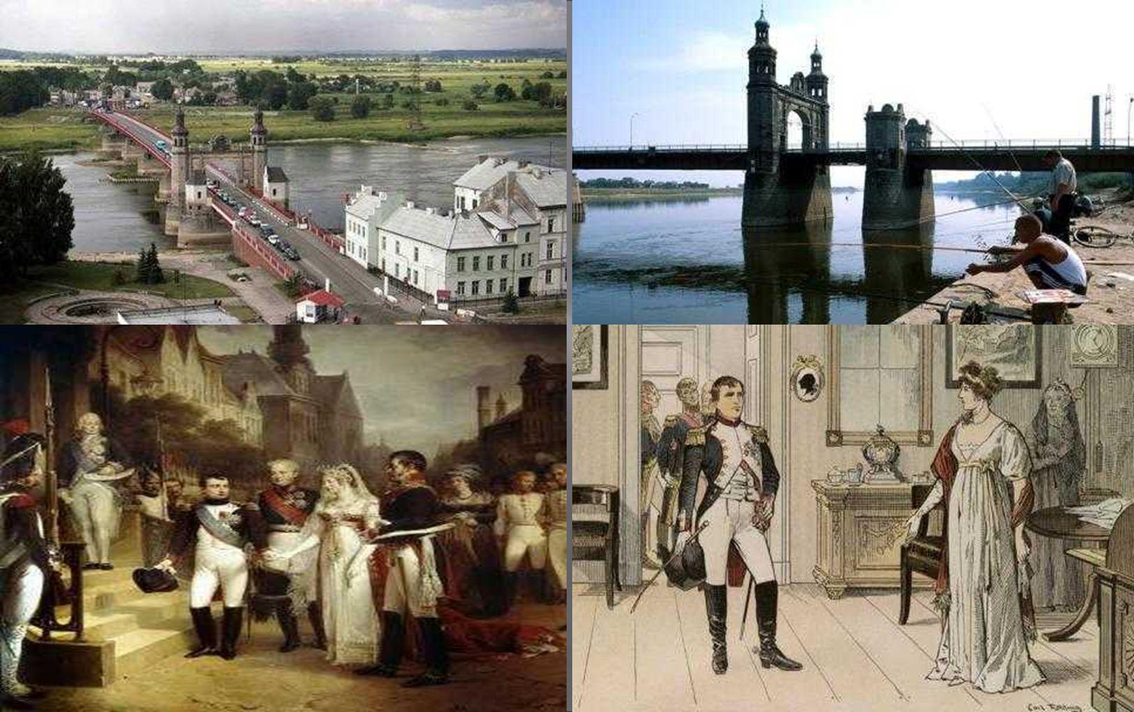 die berühmte Königin Luise Brücke in Tilsit (Memel) trennt heute das russische Ostpreußen vom Memelgebiet – heute Litauen; Monarchen-Treffen: Napoléon Bonaparte mit Königin Luise von Preussen am 6.
