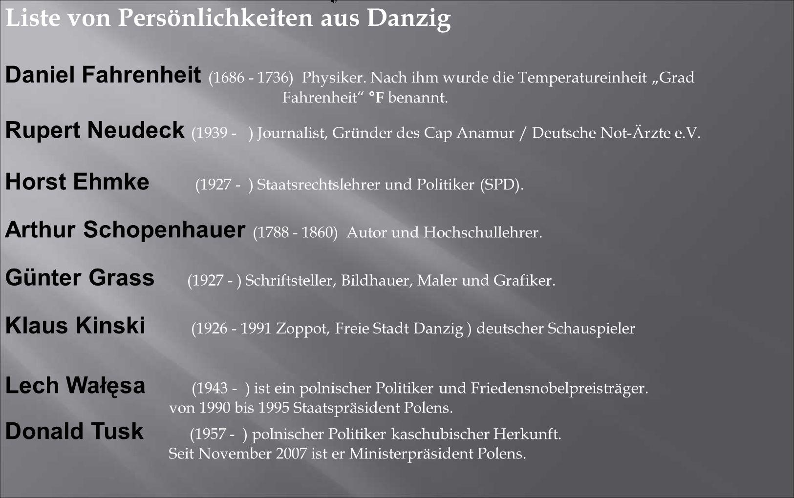Liste von Persönlichkeiten aus Danzig