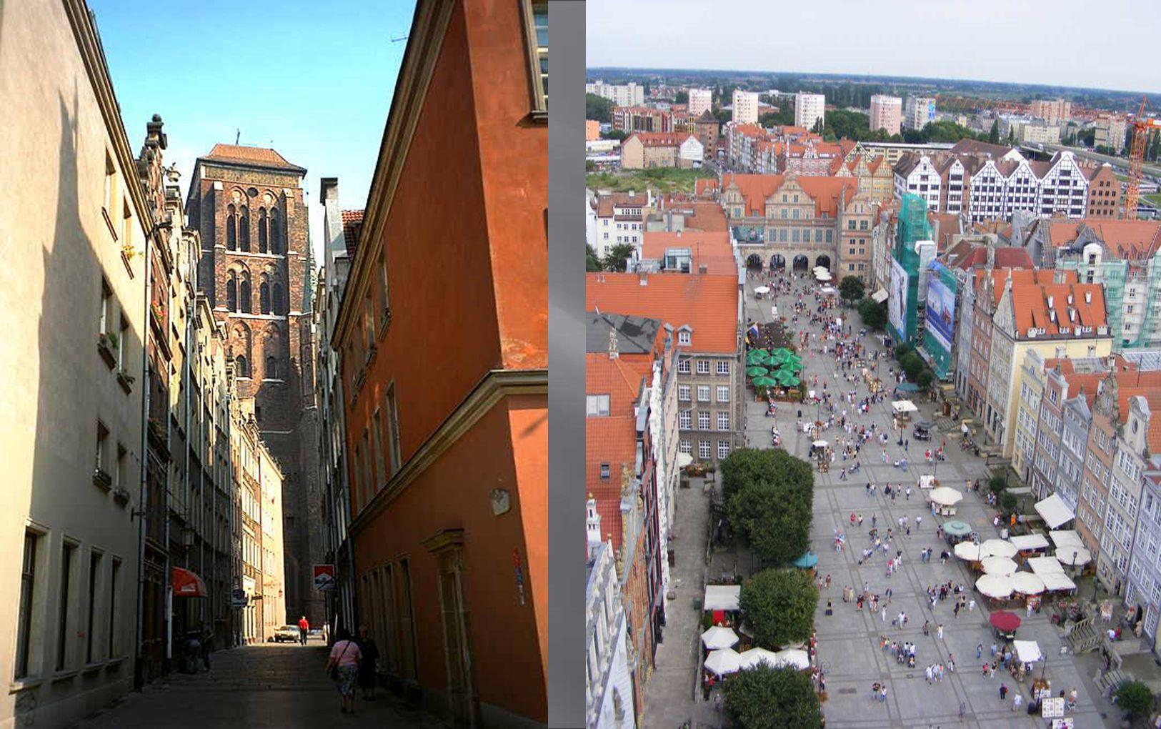 Links: Die gewaltige Marienkirche in der Altstadt von Danzig