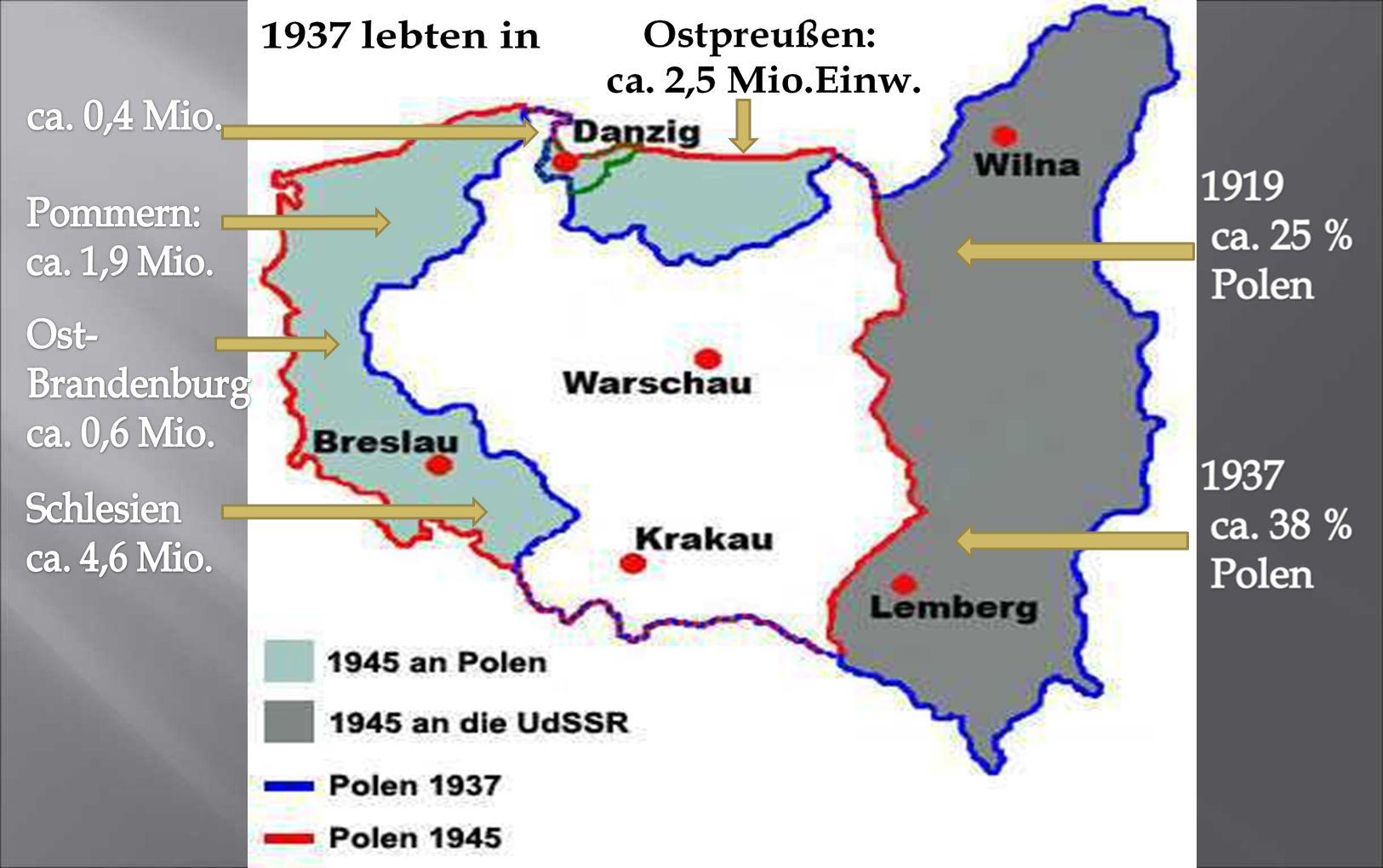 Der Polnisch-Sowjetische Krieg (1919/20 – 1922): Die Pläne Piłsudskis zielten nach 1918 auf die Errichtung einer Republik Großpolen durch die Besetzung von großen Teilen Litauens, Weißrußlands und der Ukraine. Durch Polens Offensive im Osten gelang es ihm, die polnische Staatsgrenze etwa 200 km östlich der geschlossenen polnischen Sprachgrenze, der Curzon-Linie, nach Osten zu verschieben. Im östlichen Teil Polens betrug der polnische Bevölkerungsanteil 1919 etwa 25 %, 1938 nach chauvinistischer Polonisierung der Minderheiten (bes. der Ukrainer & Weißrussen) bezeichneten sich 38 % als polnisch. Den übrigen Anteil bildeten jeweils verschiedene Nationalitäten.