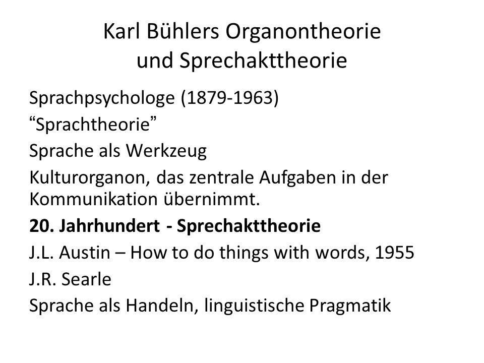 Karl Bühlers Organontheorie und Sprechakttheorie