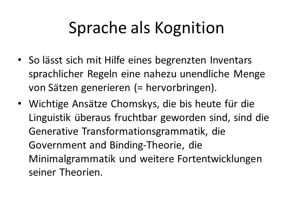 Sprache als Kognition