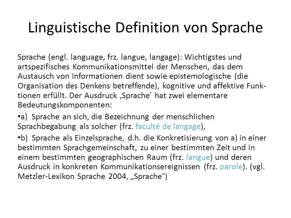 Linguistische Definition von Sprache