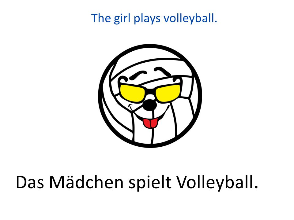 The girl plays volleyball.