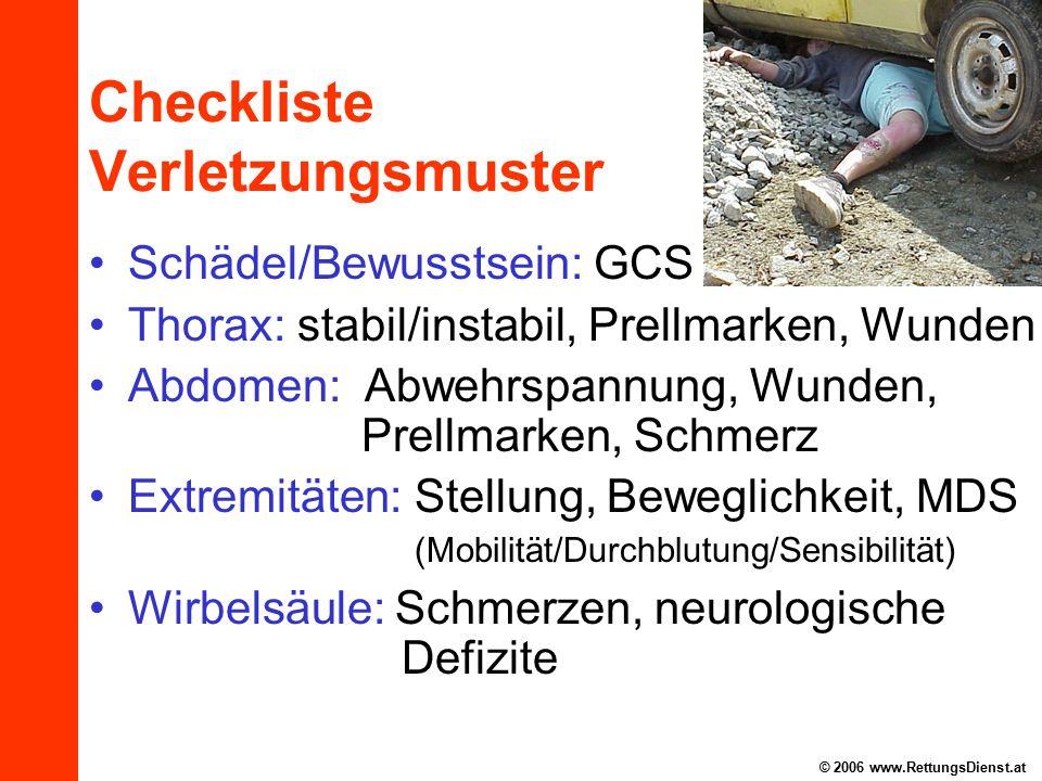 Checkliste Verletzungsmuster