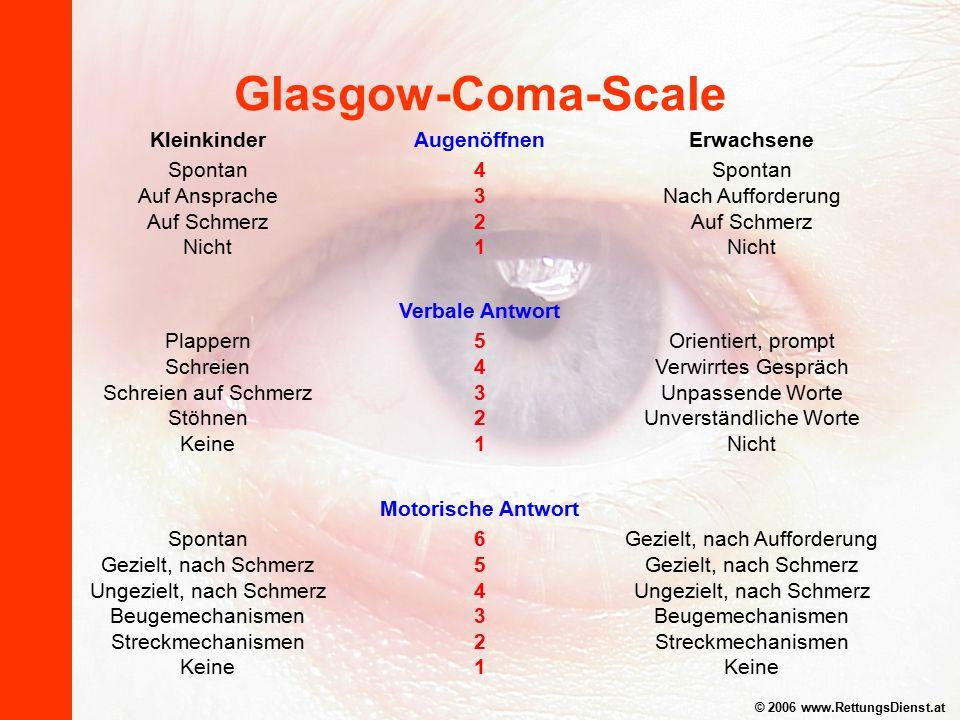 Glasgow-Coma-Scale Kleinkinder Spontan Auf Ansprache Auf Schmerz Nicht