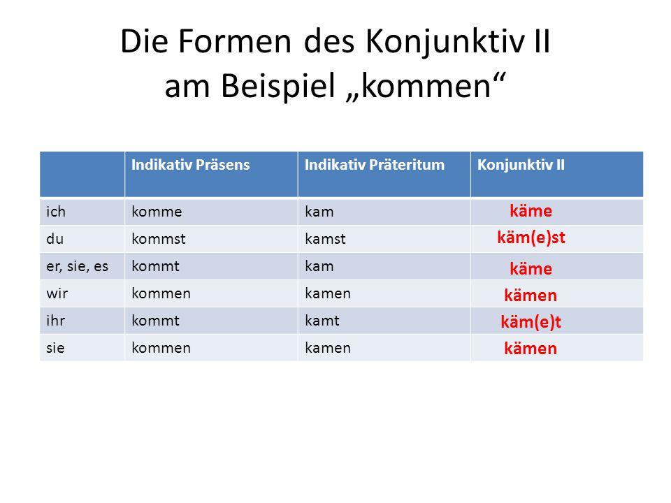 """Die Formen des Konjunktiv II am Beispiel """"kommen"""