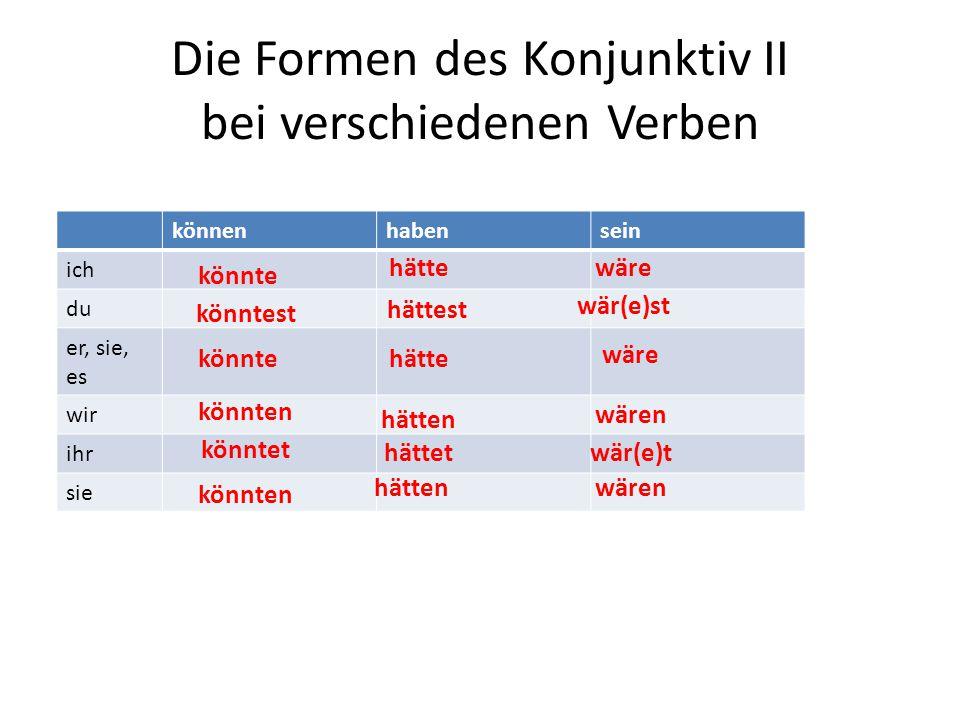 Die Formen des Konjunktiv II bei verschiedenen Verben