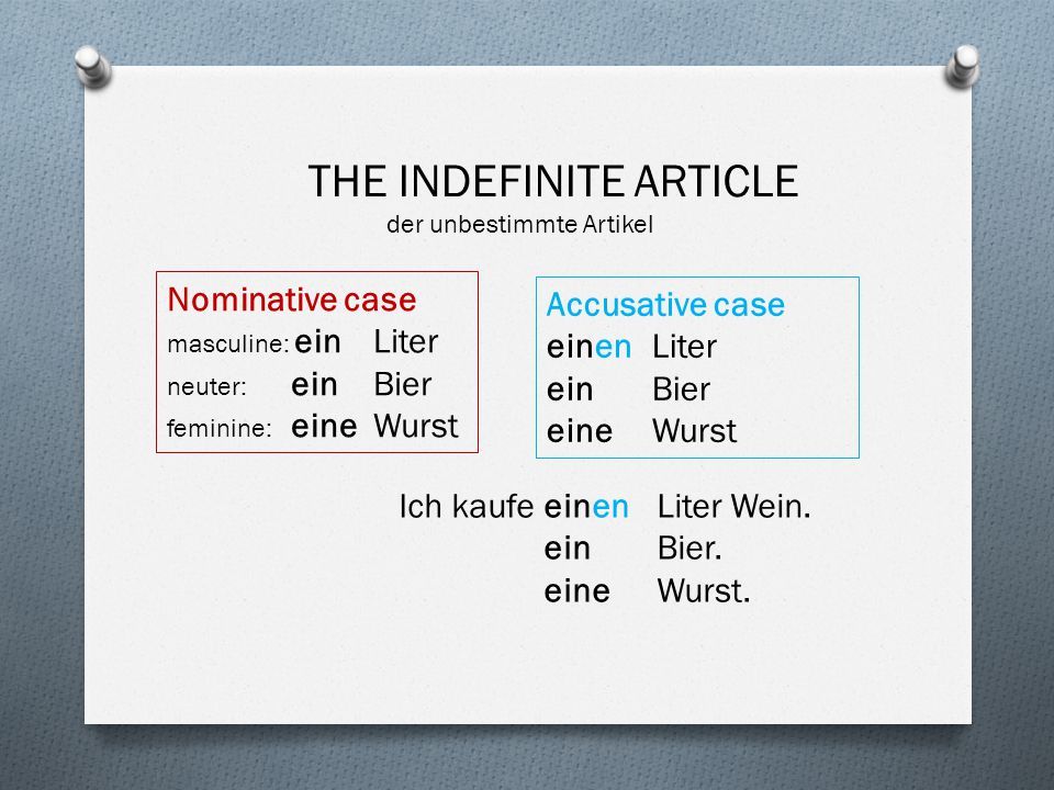 THE INDEFINITE ARTICLE der unbestimmte Artikel