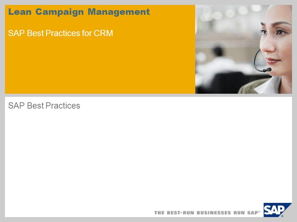 Lean Campaign Management SAP Best Practices for CRM
