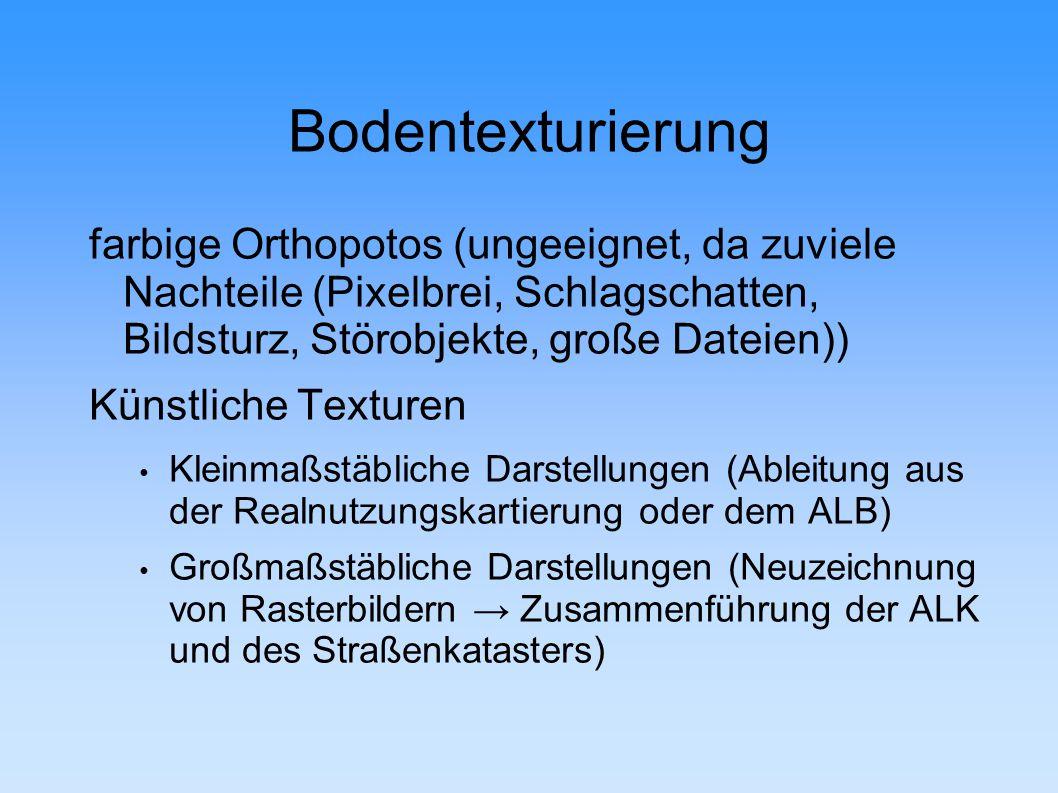 Bodentexturierung farbige Orthopotos (ungeeignet, da zuviele Nachteile (Pixelbrei, Schlagschatten, Bildsturz, Störobjekte, große Dateien))