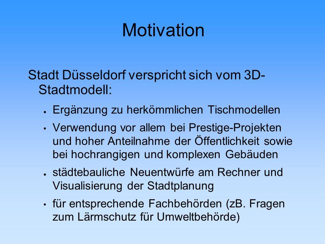 Motivation Stadt Düsseldorf verspricht sich vom 3D- Stadtmodell: