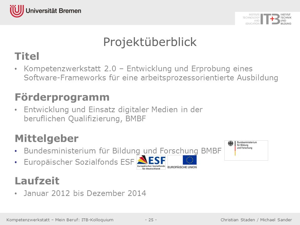 Projektüberblick Titel Förderprogramm Mittelgeber Laufzeit