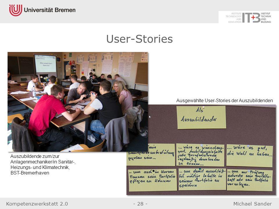 User-Stories Ausgewählte User-Stories der Auszubildenden