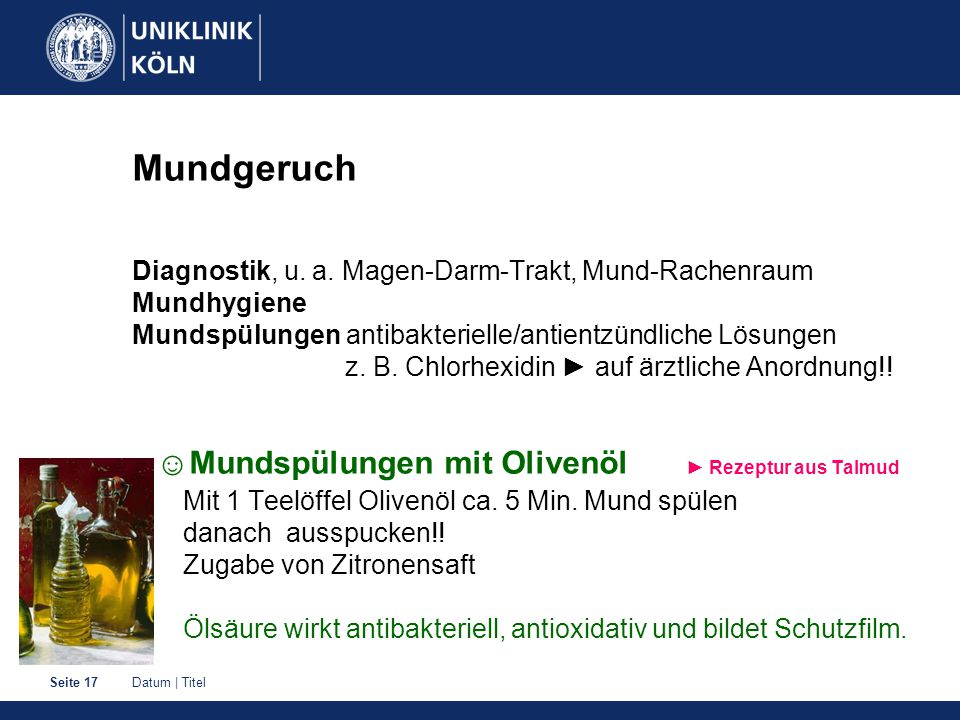 Mundgeruch Diagnostik, u. a