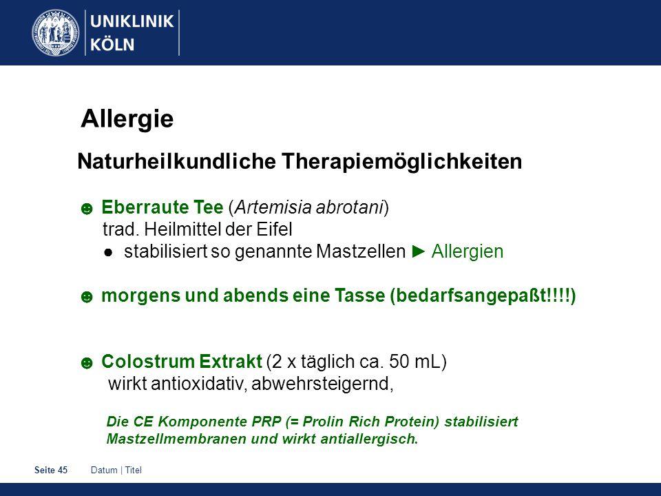 Allergie Naturheilkundliche Therapiemöglichkeiten