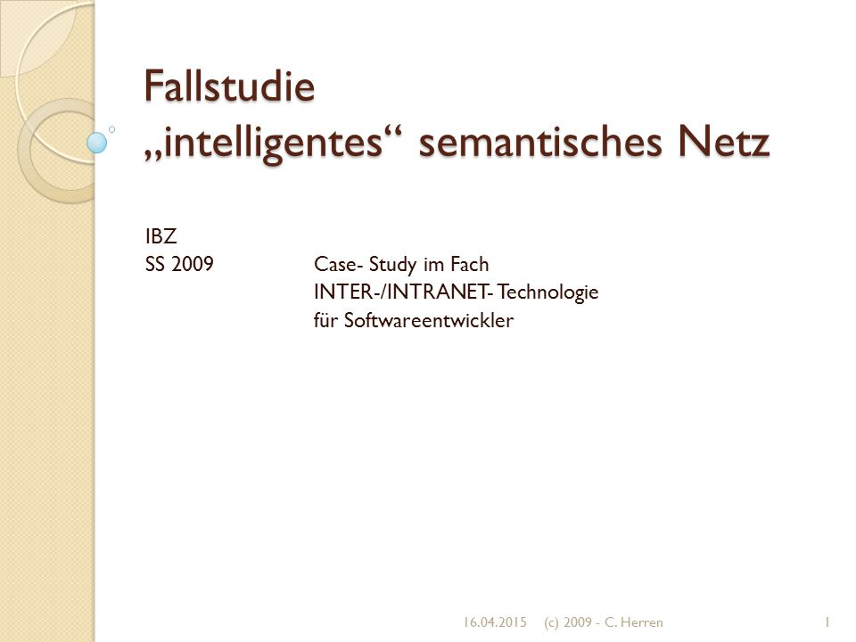 """Fallstudie """"intelligentes semantisches Netz"""