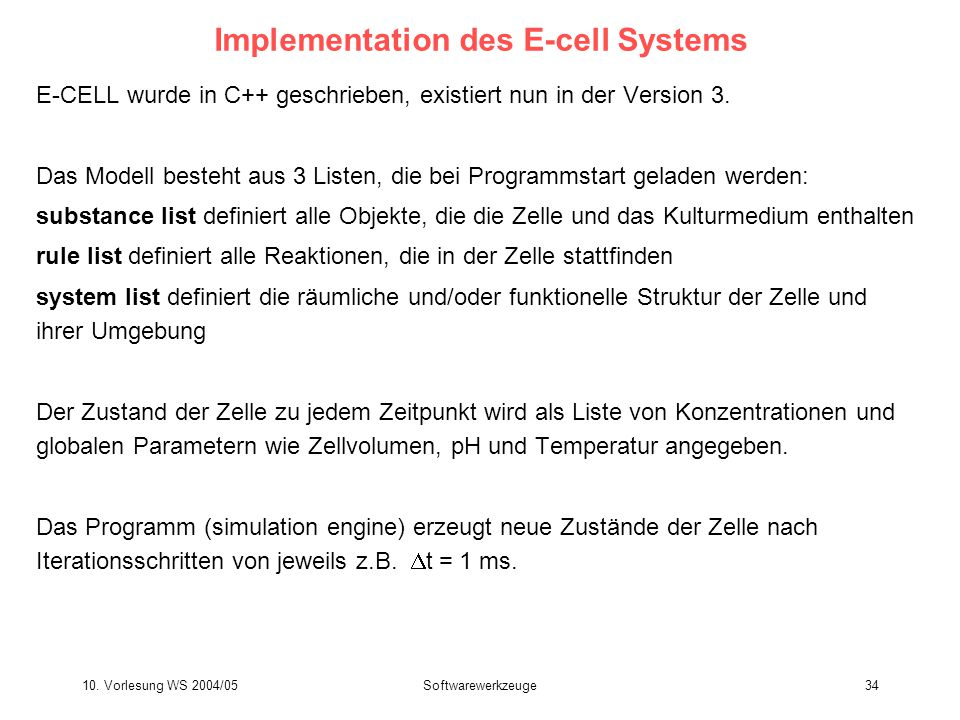 Implementation des E-cell Systems
