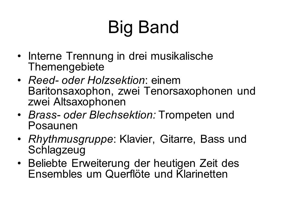 Big Band Interne Trennung in drei musikalische Themengebiete