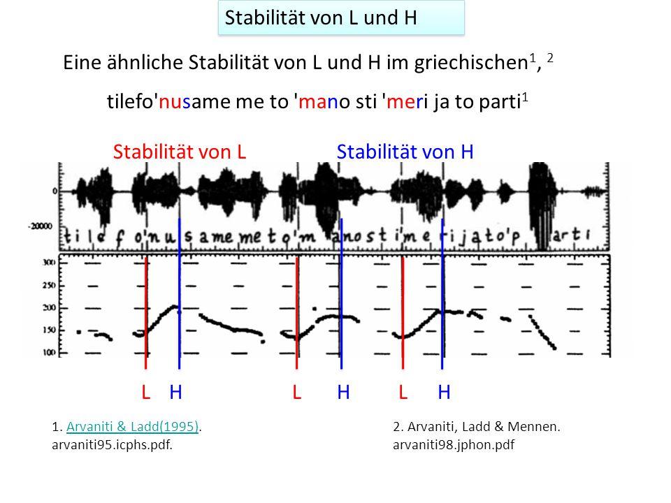 Eine ähnliche Stabilität von L und H im griechischen1, 2
