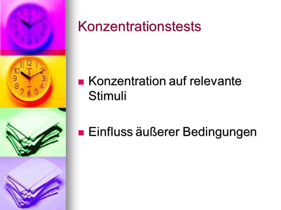 Konzentrationstests Konzentration auf relevante Stimuli