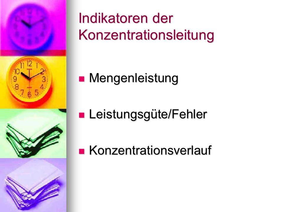 Indikatoren der Konzentrationsleitung